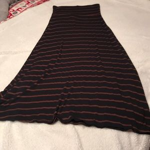 Black and brown stripe maxi skirt